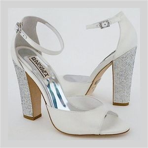 Badgley Mischka Wedding Shoes, White Block Heel 6M